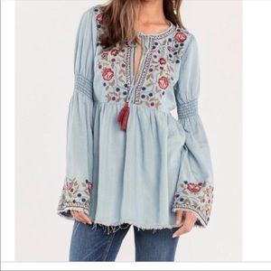 Miss Me Embroidered Top Boho Bell Sleeves